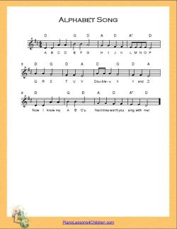 Alphabet song abc song lyrics videos amp free sheet music for piano