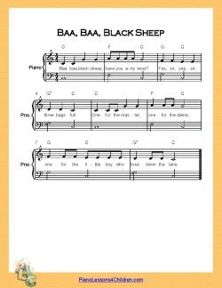 Baa Black Sheep Very Easy Piano C Major