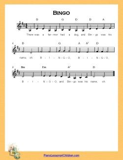 Bingo - lyrics, videos & free sheet music for piano