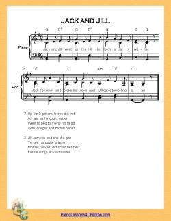 nursery rhymes keyboard notes pdf