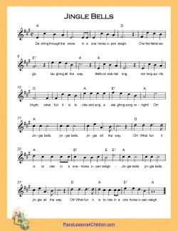 Jingle Bells - lyrics, videos & free sheet music for piano