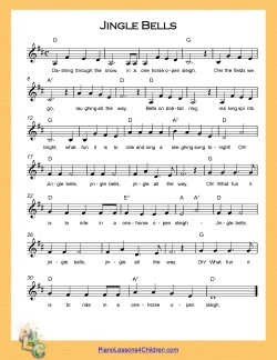Jingle Bells - lyrics, videos & free sheet music for piano
