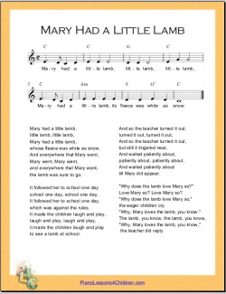 Mary Had A Little Lamb Sheet Music Mary Lamb Free