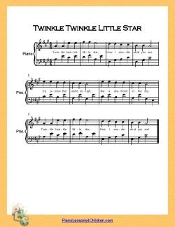 twinkle twinkle little star piano a major