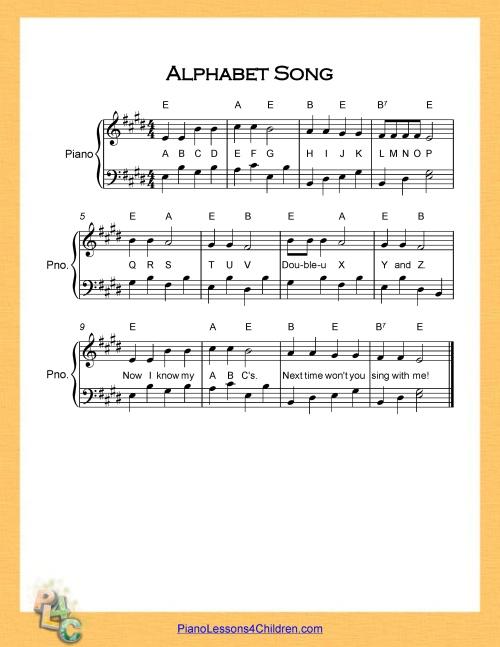 Alphabet Song Piano E Major