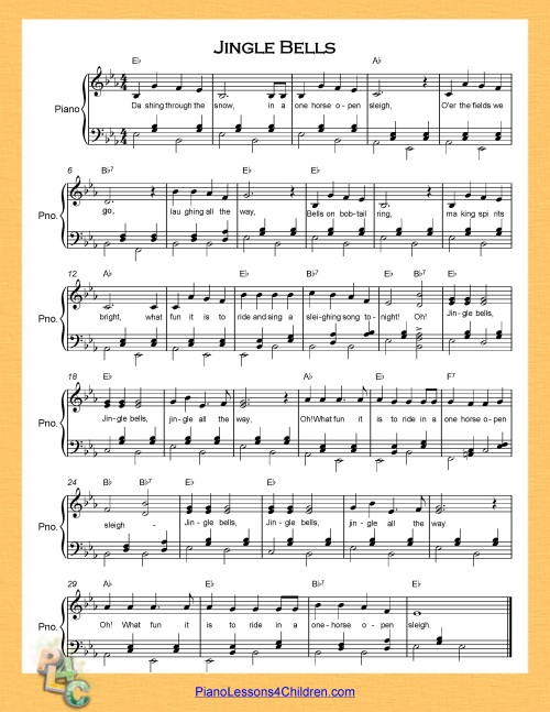 Jingle Bells - lyrics, videos u0026 free sheet music for piano