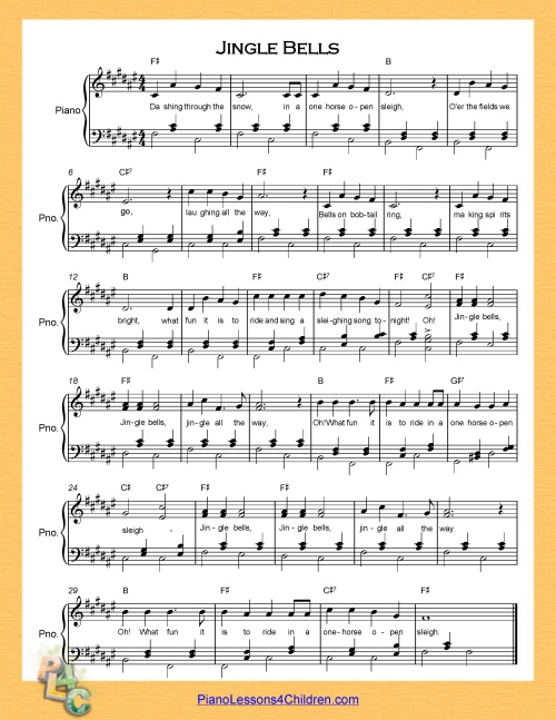 photograph about Piano Sheet Music for Beginners Popular Songs Free Printable known as Jingle Bells - lyrics, motion pictures no cost sheet audio for piano