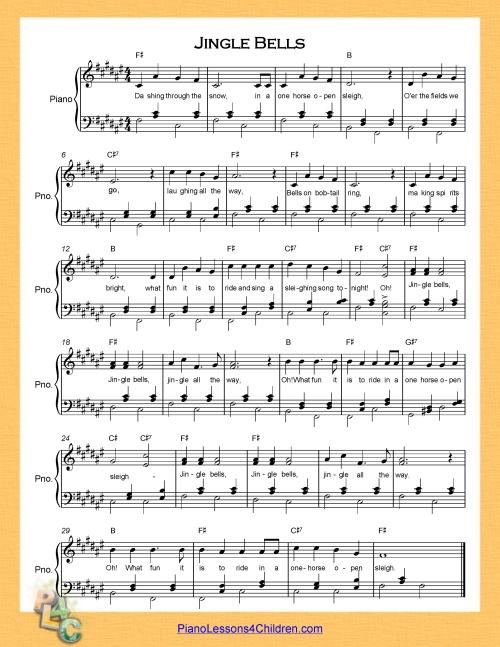 Jingle Bells Lyrics Videos Free Sheet Music For Piano