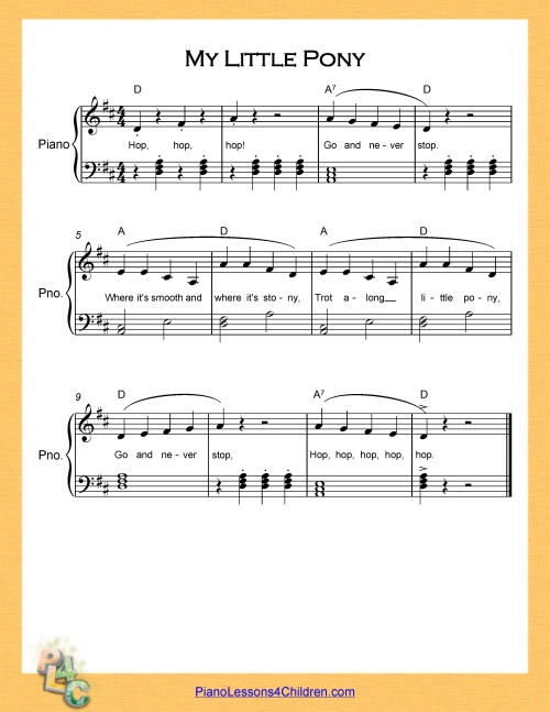 My Little Pony - lyrics, videos & free sheet music for piano