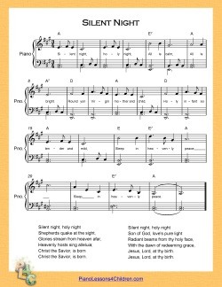 Silent Night - piano lesson on videos, lyrics, & free sheet music for ...