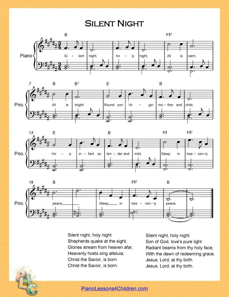 Silent Night - piano lesson on videos, lyrics, & free sheet music