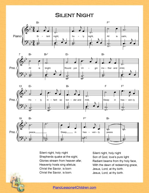 Silent Night Piano Lesson On Videos Lyrics Free Sheet Music